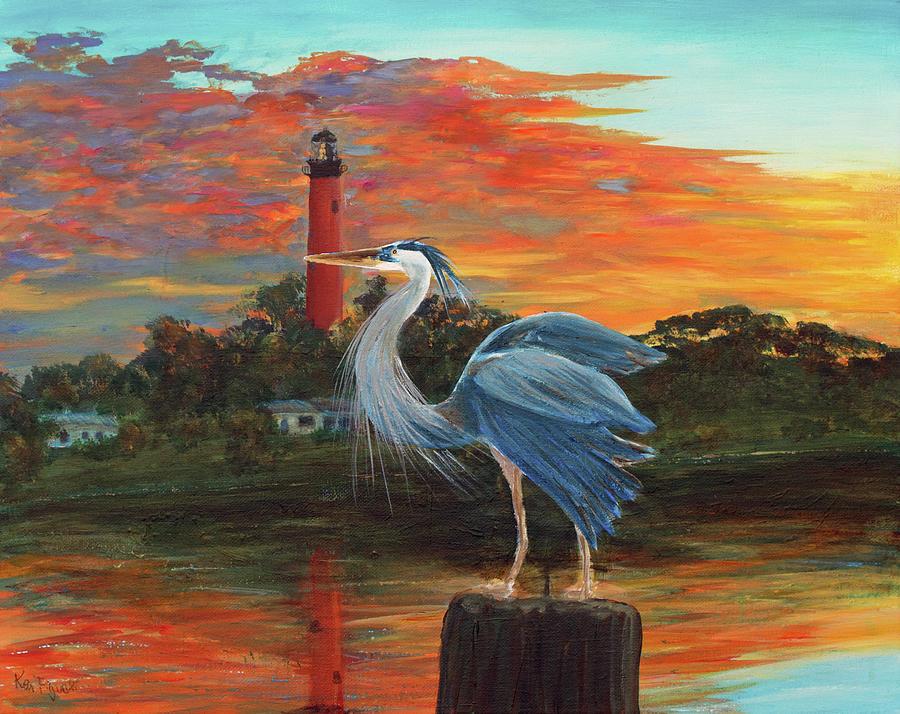 Delray Painting - Jupiter Lighthouse Sunrise Great Blue Heron by Ken Figurski