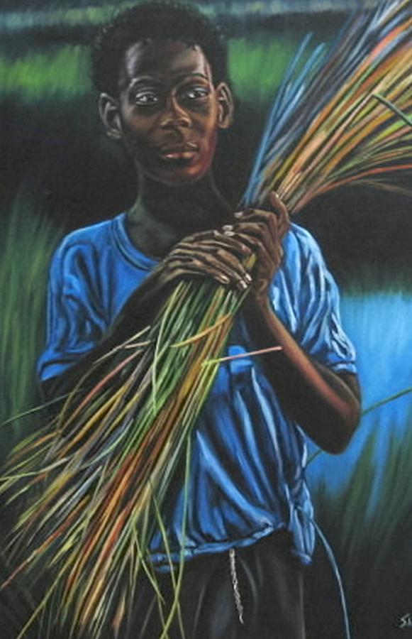 Portrait Painting - Justine by Shahid Muqaddim