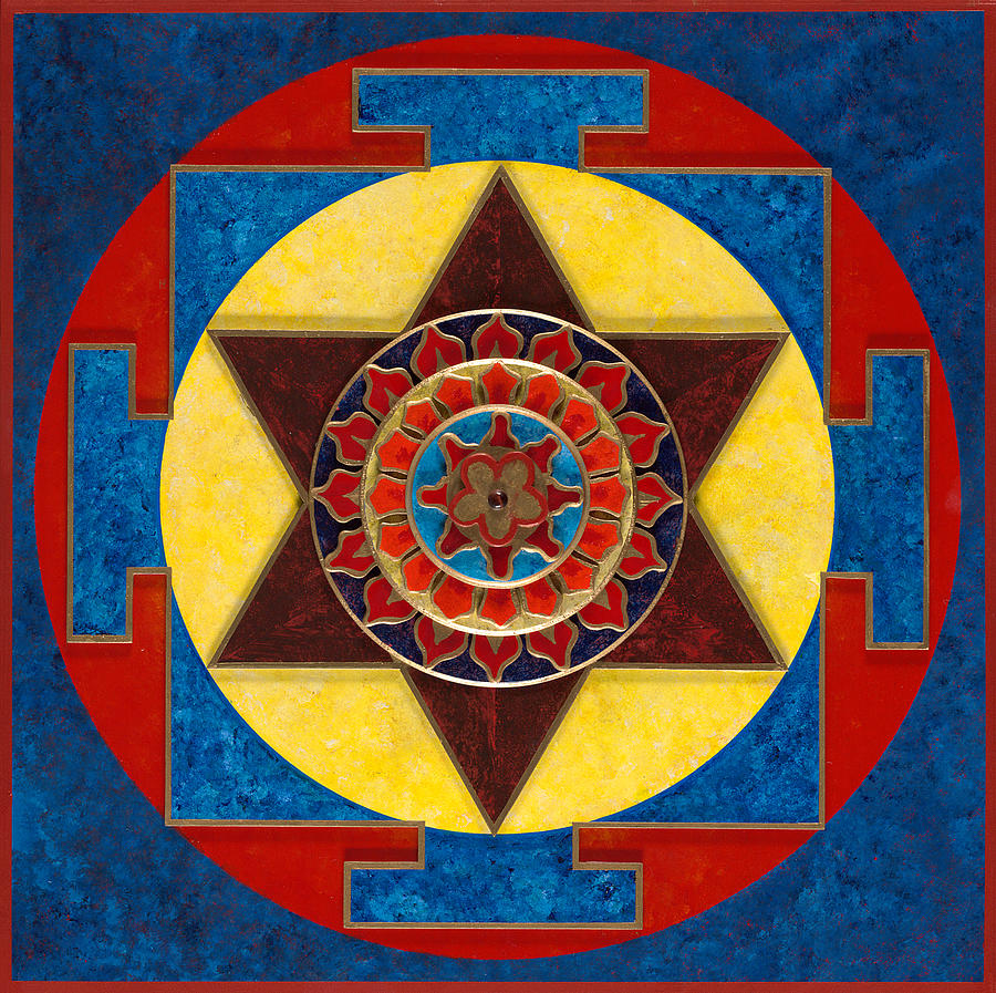 Yantra Painting - Kameshvari Yantra Blessings Sacred 3d High Relief Artistically Crafted Wooden Yantra  23in X 23in by Peter Clemens