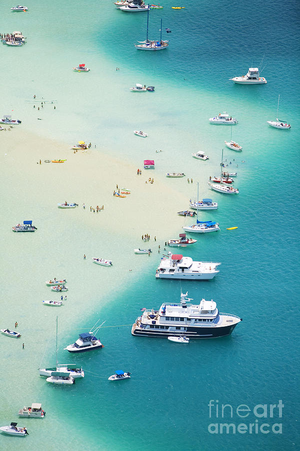 Above Photograph - Kaneohe Bay, Boats by Ron Dahlquist - Printscapes