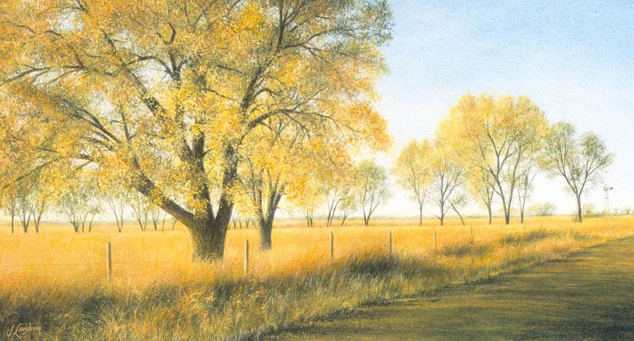 Trees Painting - Kansas Gold by Janet Landrum