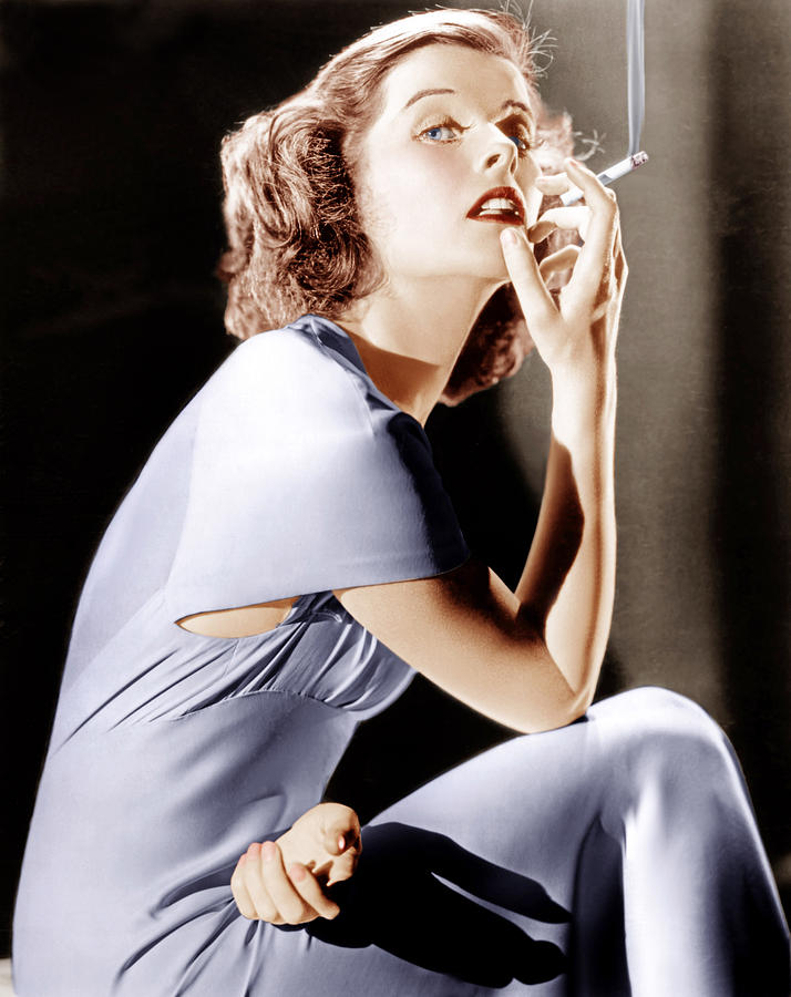 Cigarette Photograph - Katharine Hepburn, Ca. 1930s by Everett