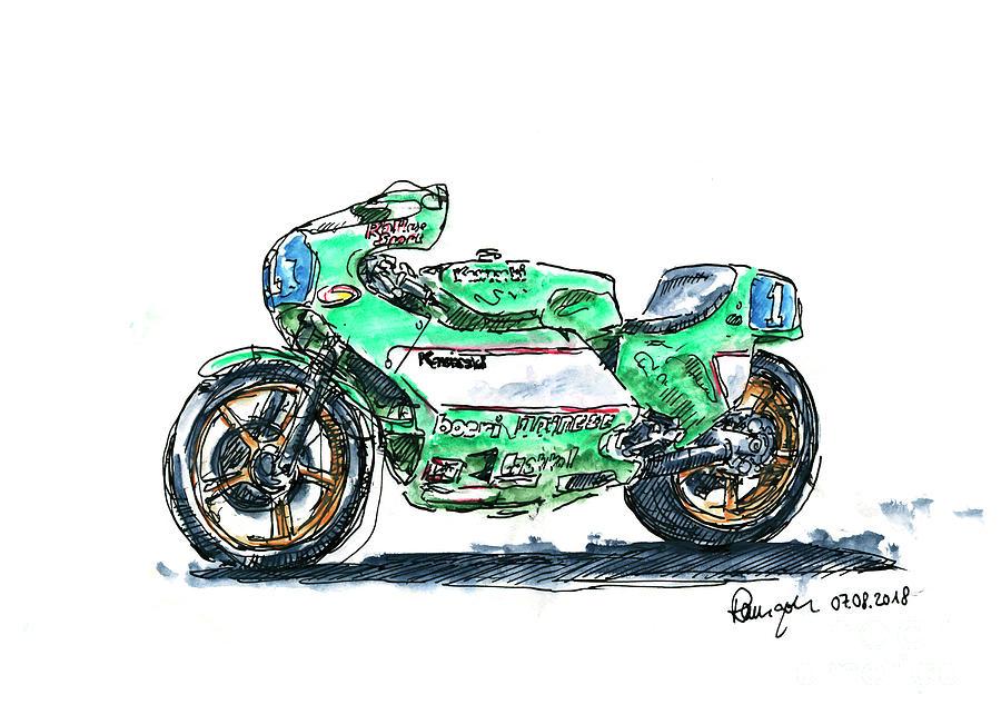 Motorbike Drawing - Kawasaki KR 350 Classic Racing Motorbike Ink Drawing and Waterco by Frank Ramspott