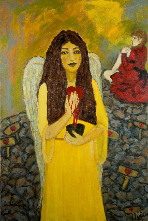 Angel Painting - Keeper Of Broken Hearts by Treza Bettencourt