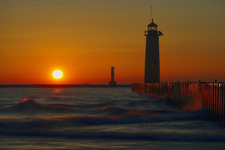 Kenosha Lighthouse at Sunup by Dale Kauzlaric