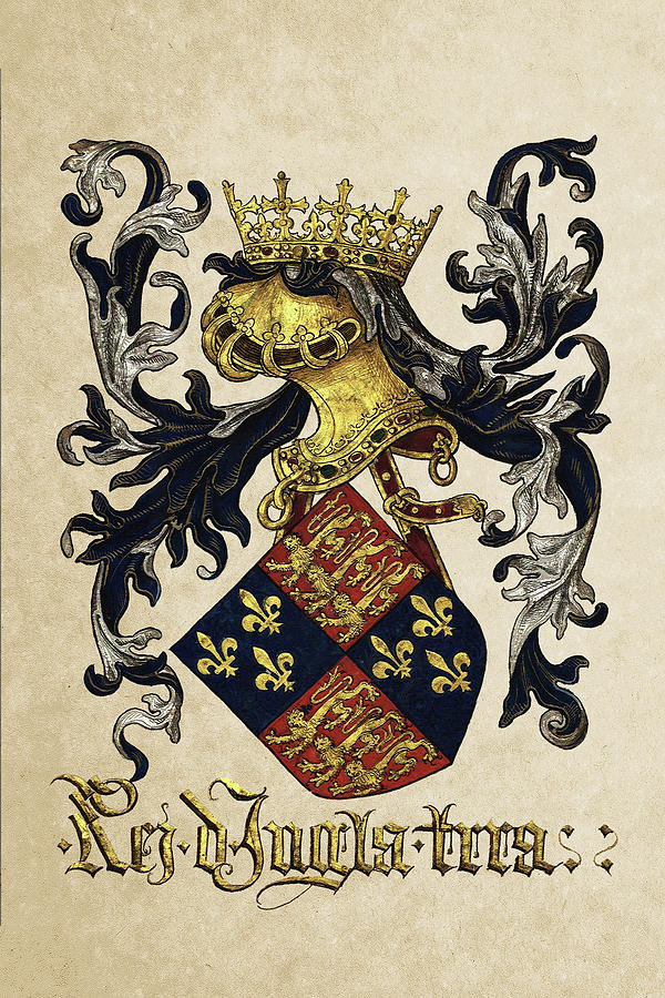 'roll Of Arms� Collection By Serge Averbukh Photograph - King Of England Coat Of Arms - Livro Do Armeiro-mor by Serge Averbukh