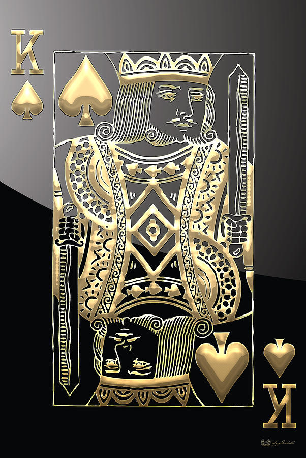 Playing Cards Photograph - King of Spades in Gold on Black   by Serge Averbukh