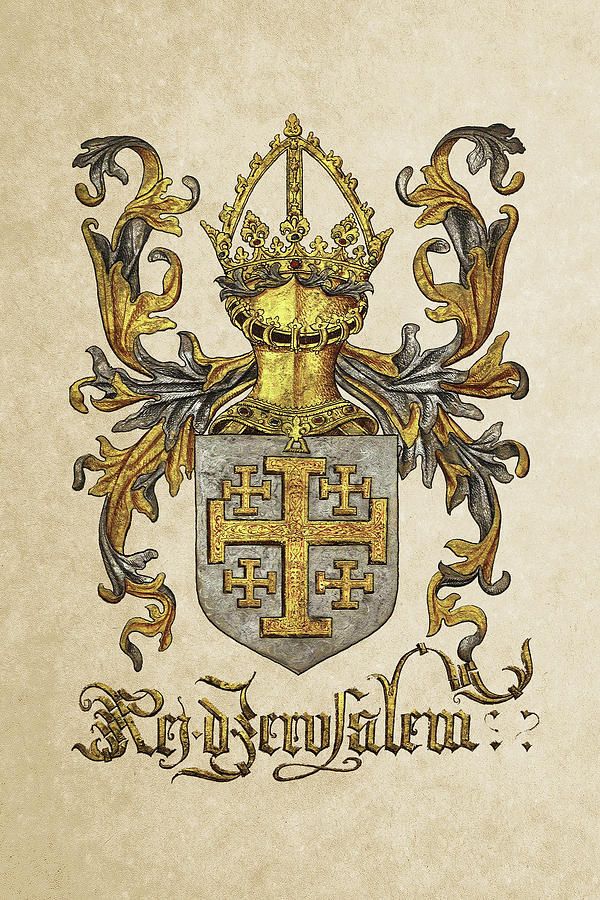 'roll Of Arms� Collection By Serge Averbukh Photograph - Kingdom Of Jerusalem Coat Of Arms - Livro Do Armeiro-mor by Serge Averbukh