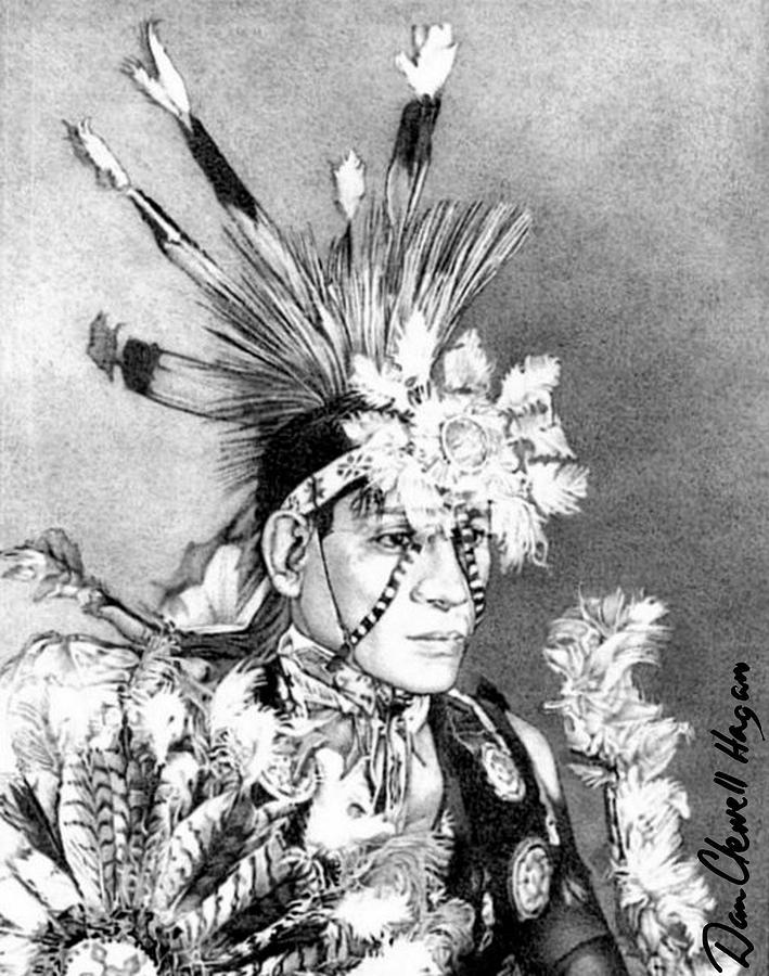 American Indian Drawing - Kiowa Indian by Dan Clewell