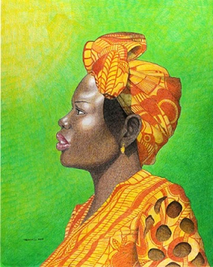 African Drawing - Kissed By The Sun by Jay Thomas II