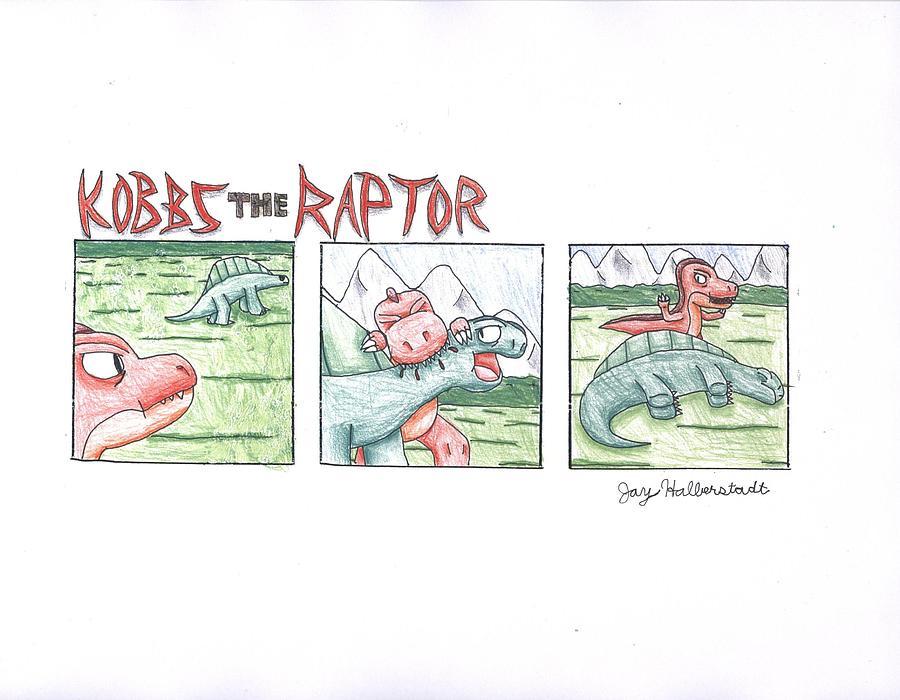 Dinosaurs Drawing - Kobbs The Raptor by Jayson Halberstadt