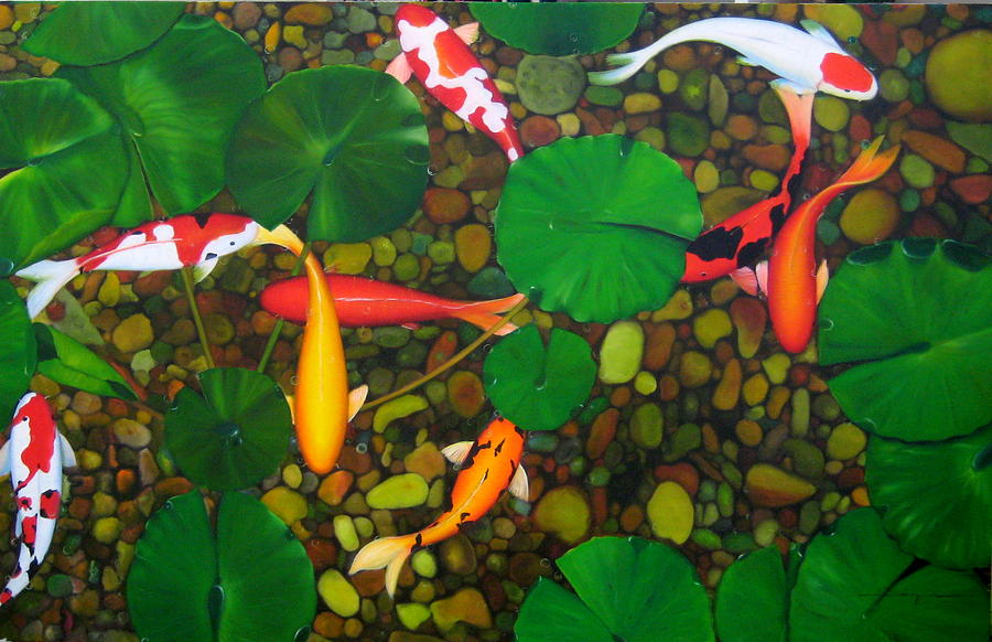 Koi fish in pond painting by sabaiporn wonganu for Koi fish pond drawing