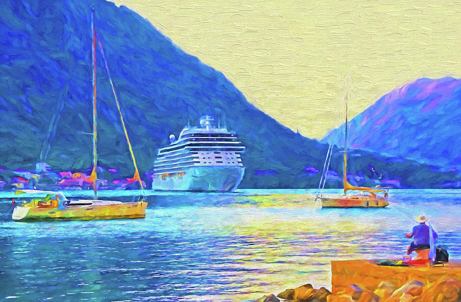 Montenegro Mixed Media - Kotor Harbor by Dennis Cox Photo Explorer