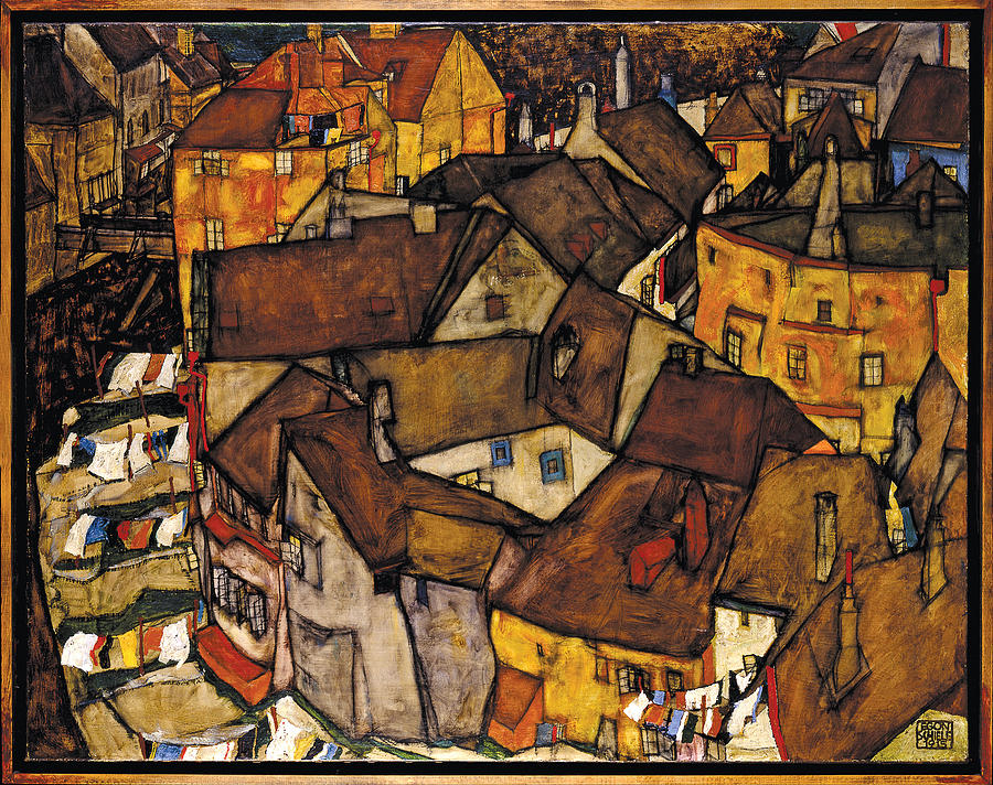 Schiele Photograph - Krumau - Crescent Of Houses by Egon Schiele