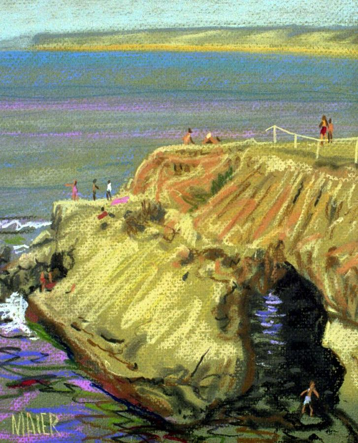 Pastel Painting - La Jolla Swimmers  by Donald Maier