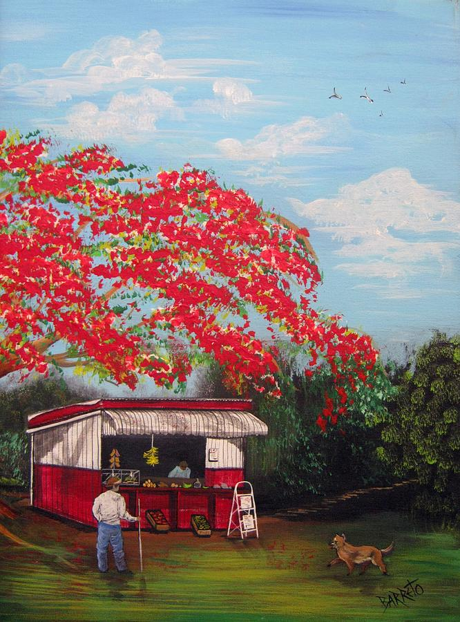 Flamboyant Painting - La Tiendita by Gloria E Barreto-Rodriguez