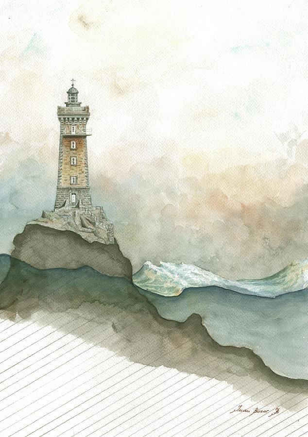 Architectural Decor Painting - La vieille lighthouse by Juan Bosco