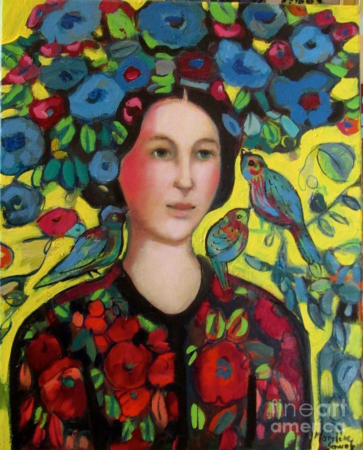 Marilene Sawaf Painting - Lady and hat by Marilene Sawaf