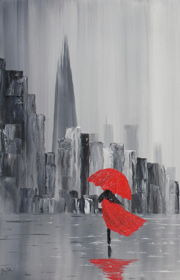 Lady in red dress and red umbrella walking alone through a for Painting red umbrella