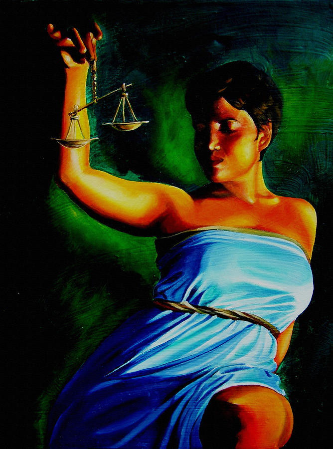 Colorful Painting - Lady Justice by Laura Pierre-Louis