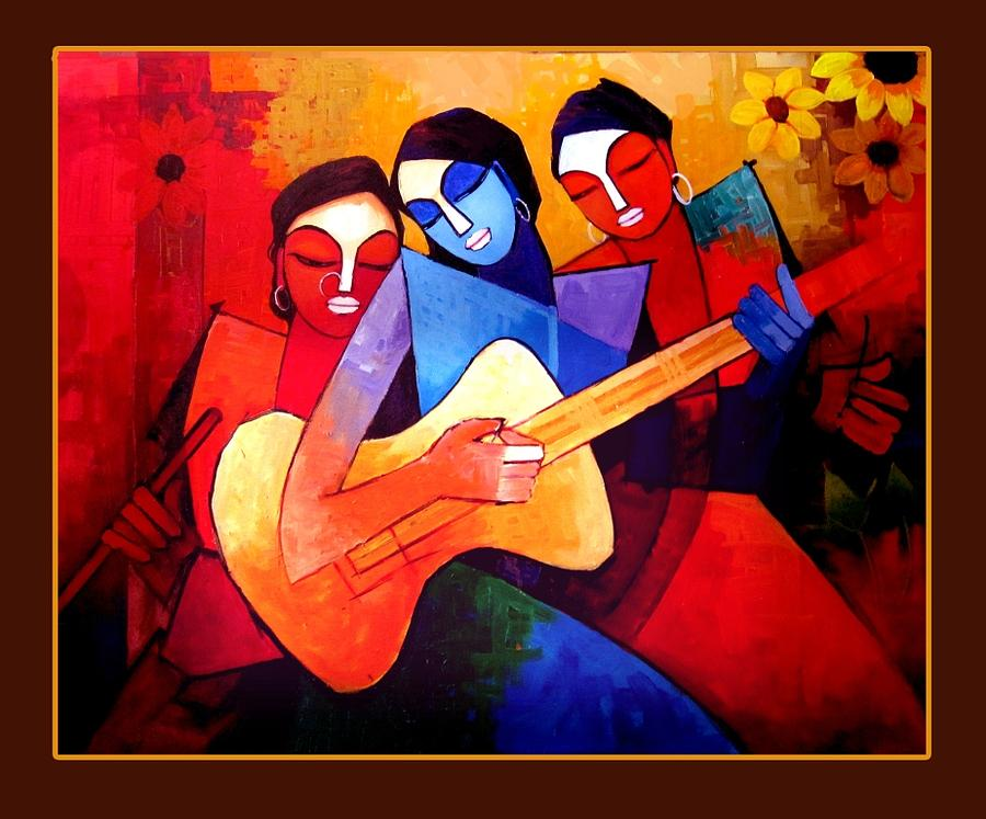 Paintings Painting - Lady Playing Guitar by Vivek Bharambe