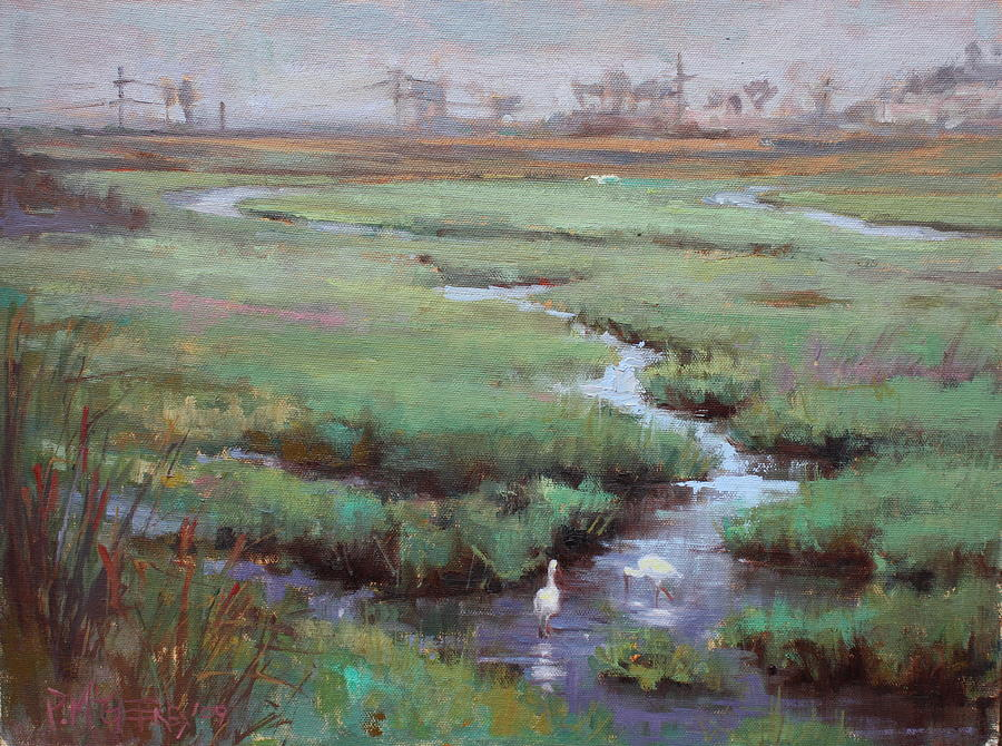 Landscape Painting - Lagoon Egrets by Patricia McGeeney