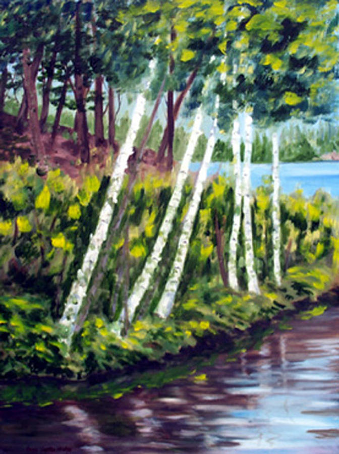 Landscape Print - Lakeside Birches by Anne Trotter Hodge