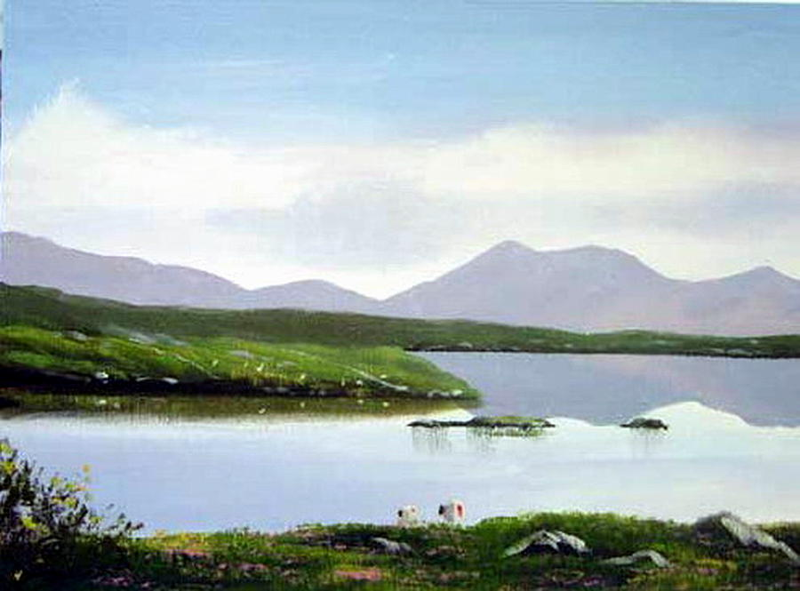 Irish Landscapes Painting - Lakeside Sheep by Cathal O malley