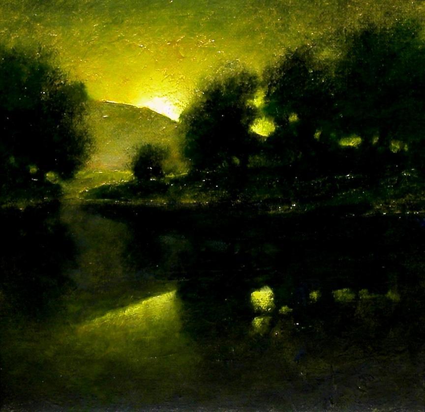 Tonalist Painting - Lakeside Sunset by Jim Gola