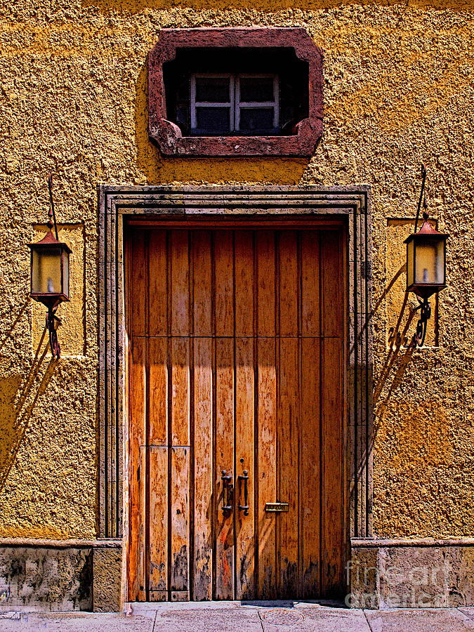 Tlaquepaque Photograph - Lamps And Door by Mexicolors Art Photography
