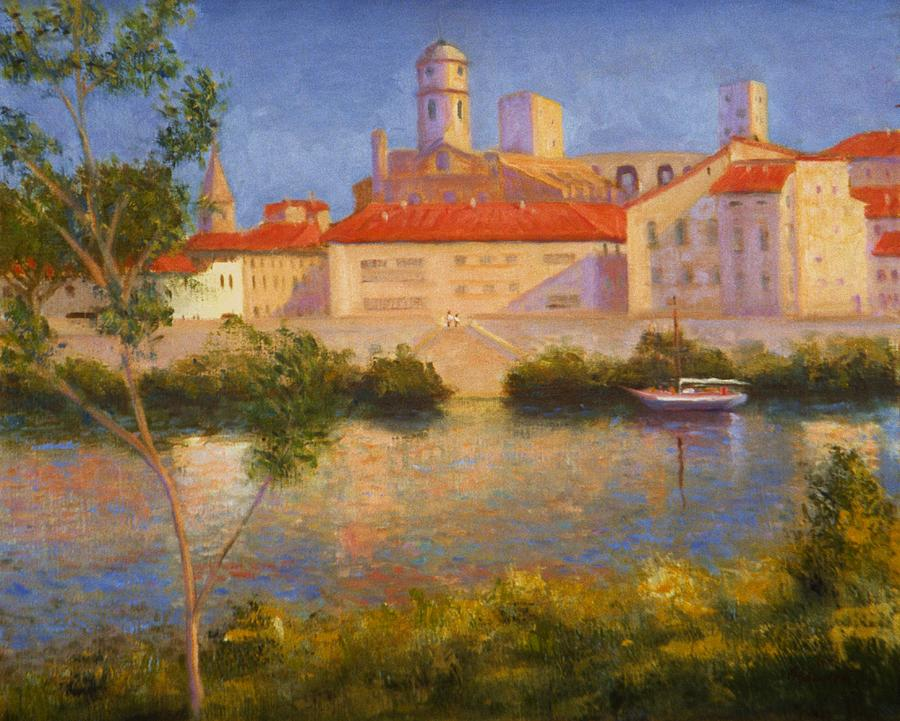 Landscape At Arles France Painting by David Olander