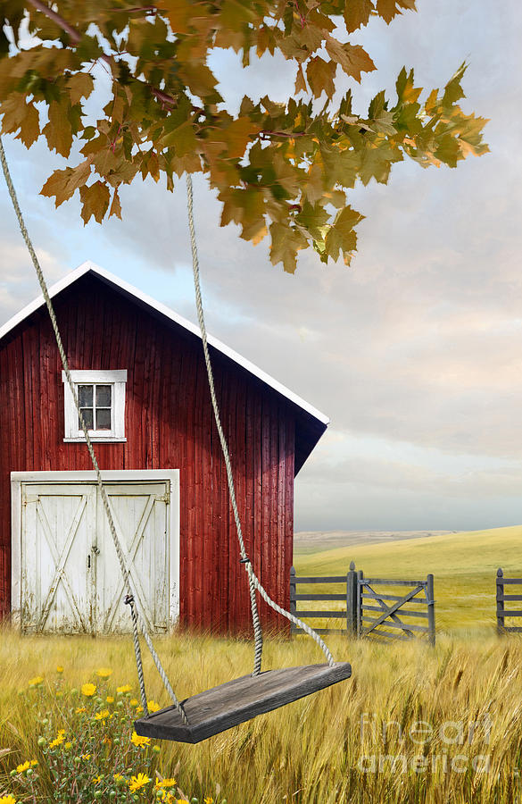 Atmosphere Photograph - Large Red Barn With Bicycle In Field Of Wheat by Sandra Cunningham