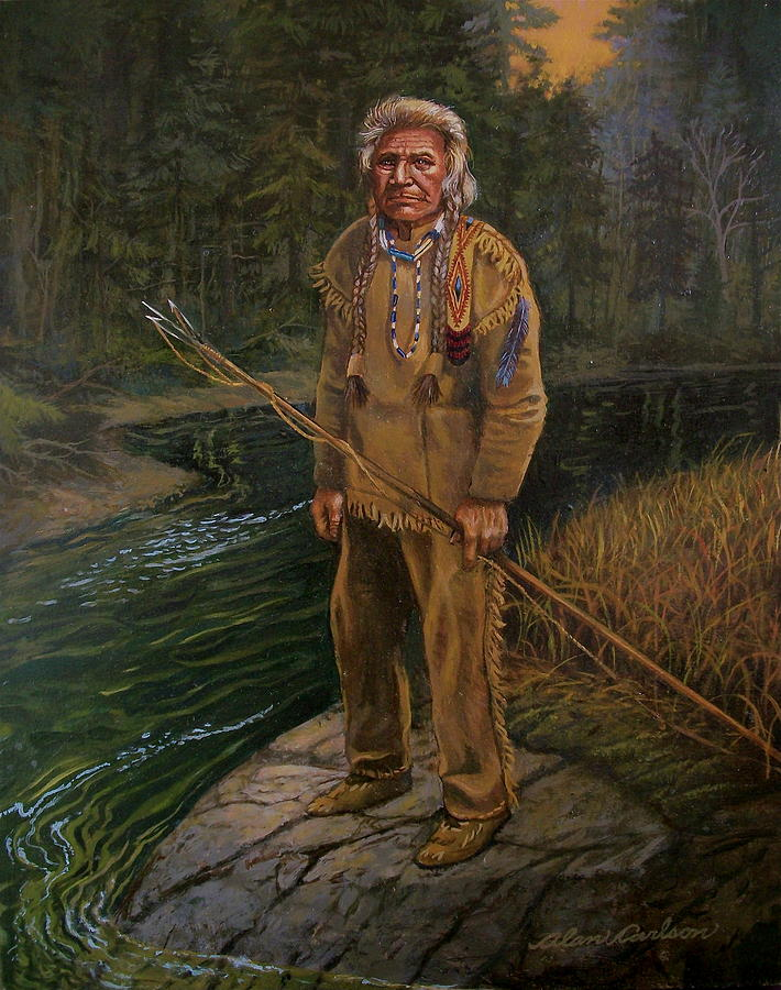 American Indian Painting - Last Fishing Trip by Alan Carlson