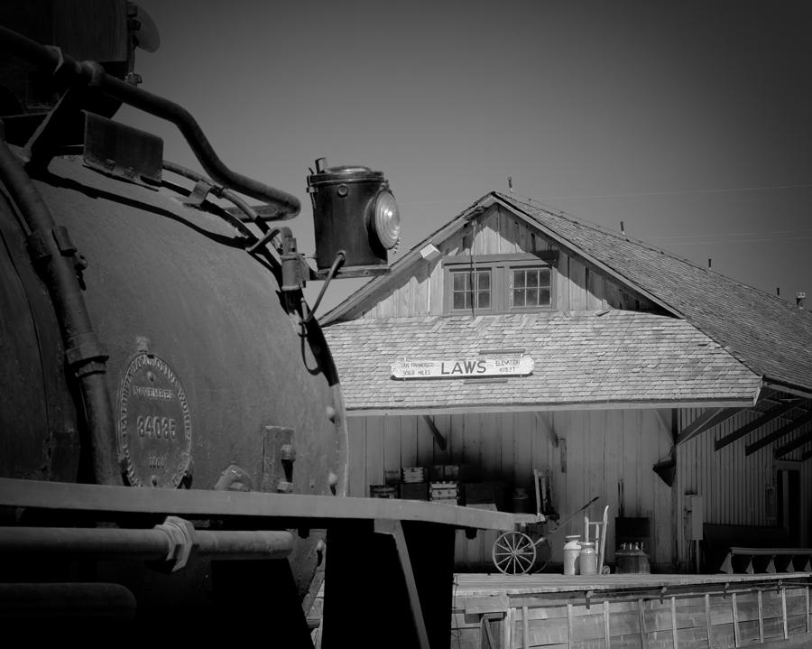 Antique Photograph - Laws Depot And Locomotive 9 by Troy Montemayor