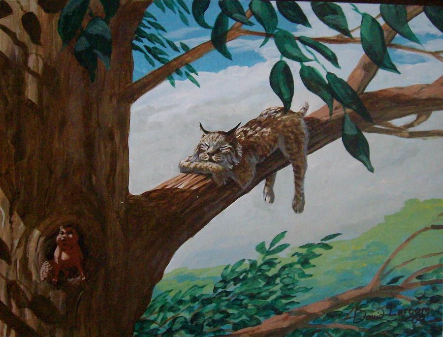 Bobcat Painting - Lazy Days by David  Larcom