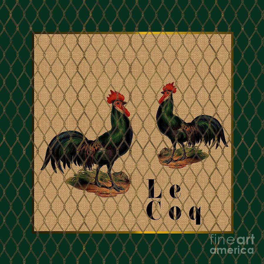 Le Coq Farm Roosters 2 Digital Art