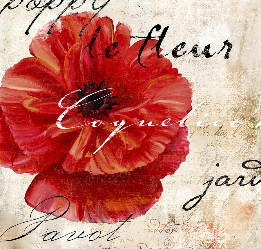 Poppy Painting - Le Pavot  by Mindy Sommers