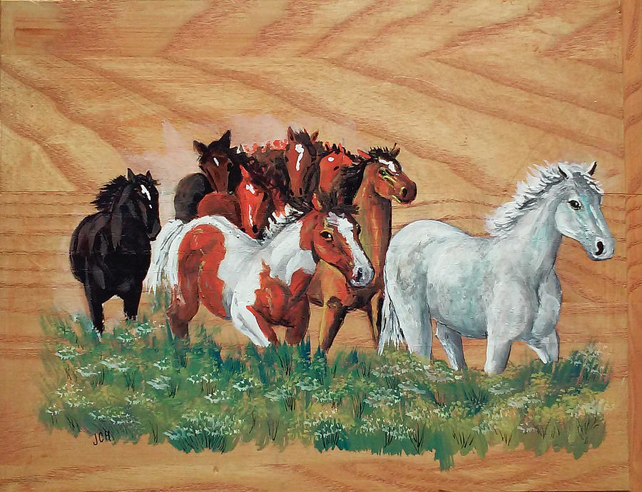 Horse Herd Painting - Leaders by Jean Ann Curry Hess