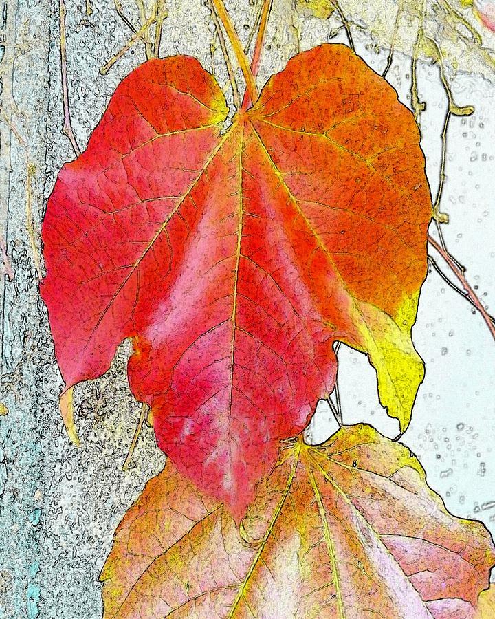 Autumn Digital Art - Leaf by Kumiko Izumi