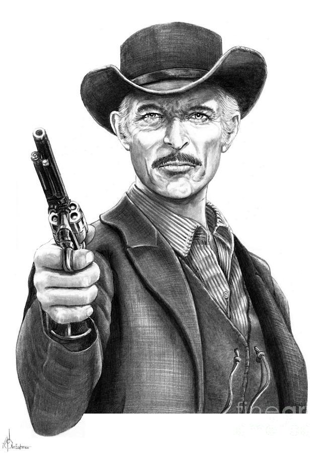 Drawing Drawing - Lee Van Cleef by Murphy Elliott