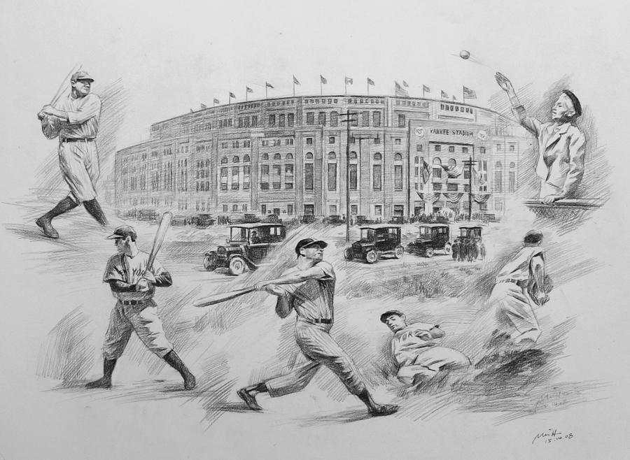 Yankees Drawing - Legend of Yankees by Mei  He