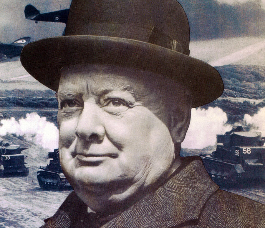 Churchill Photograph - Let Us Go Forward Together by English School