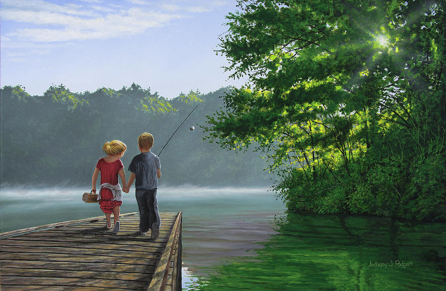 Fishing Painting - Lets Go Fishing by Anthony J Padgett