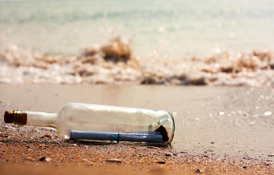 Ashore Photograph - Letter In A Bottle by Boyan Dimitrov