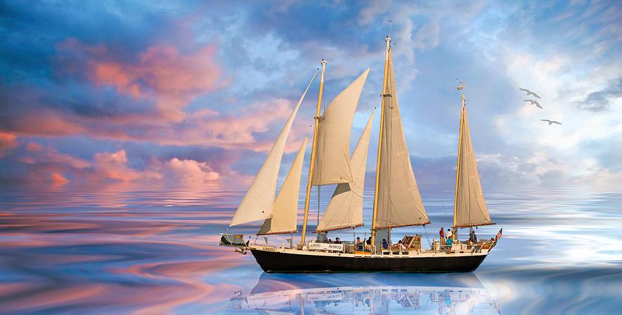 Sail Digital Art - Liberte by Michael Petrizzo