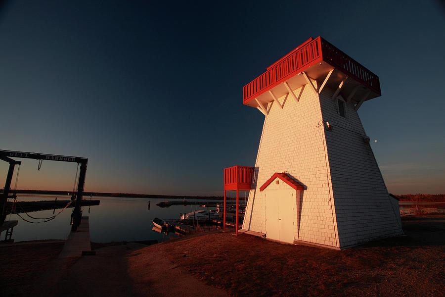 Lighthouse And Marina At Hecla In Manitoba Digital Art
