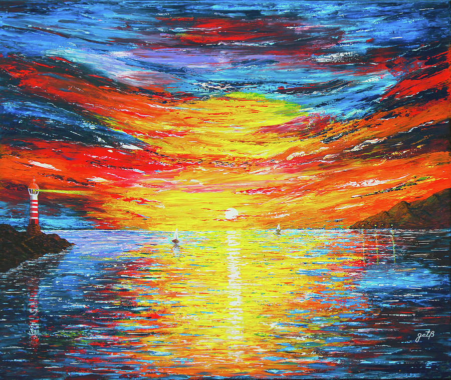 Ocean Sunset Painting -  Lighthouse Sunset Ocean View Palette Knife Original Painting by Georgeta Blanaru