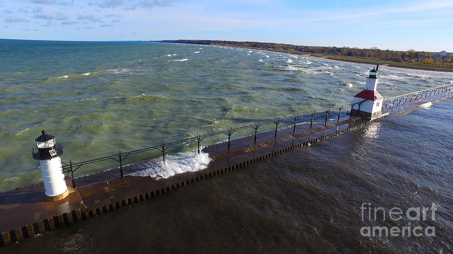 Lake Michigan Photograph - Lighthouse by Timeless Aerial Photography LLC