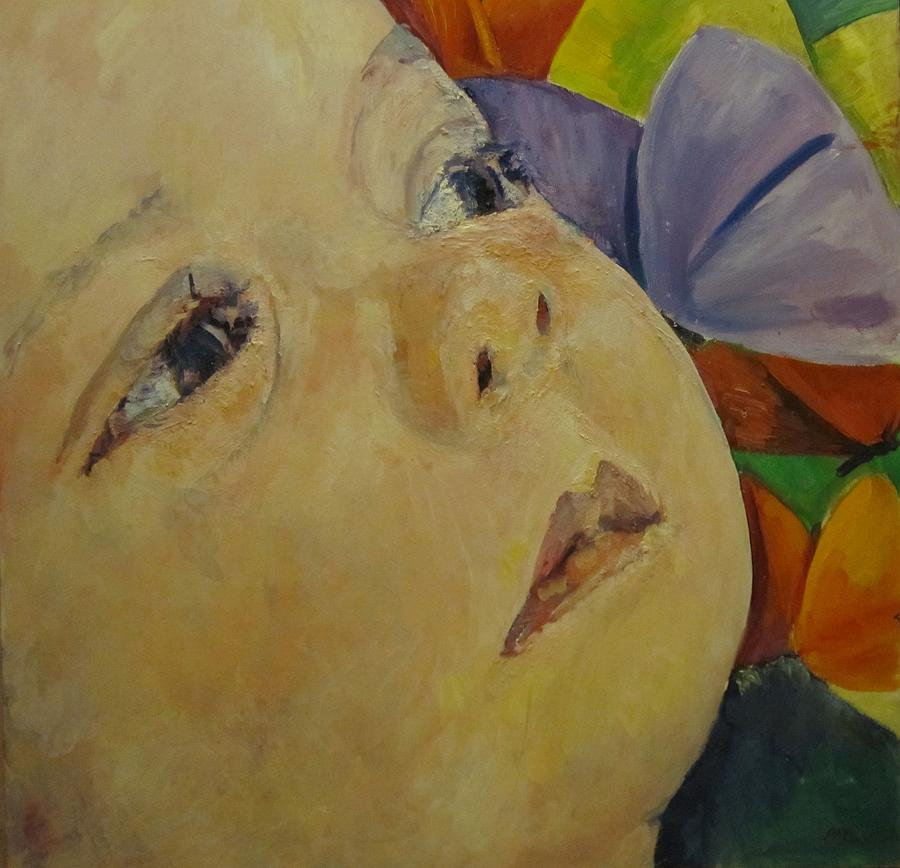 Baby Painting - Lily And Butterflies by Pamela A Fox