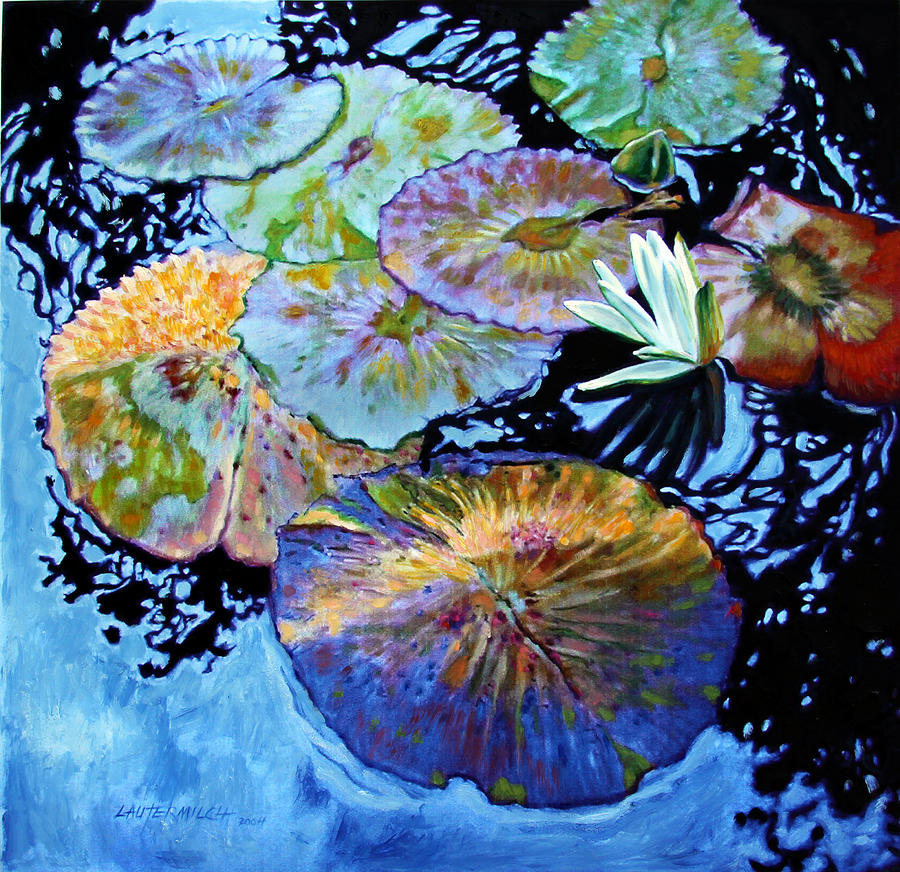 Water Lilies Painting - Lily Pad Palettes by John Lautermilch